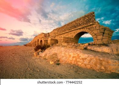 Old Aqeuduct in Caesarea, Israel
