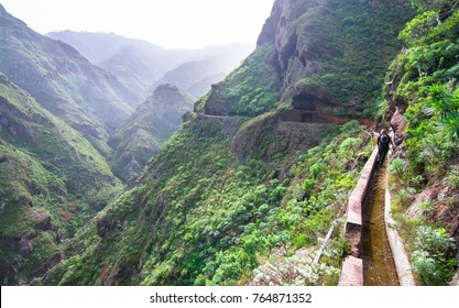 An old aqueduct now used as an adventure hiking trail in the Anaga Mountains, Tenerife, Spain