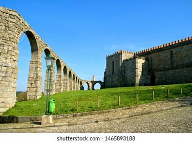 Old aqueduct & Santa Clara's Monastery in Vila do Conde, Portugal