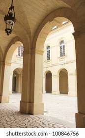 old arcades of Uzes city hall, France