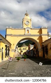 Old arch in historic colonial city of Guatemala