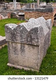 Old archaeological site Salona near Split, Croatia. Roman city and Early Christianity