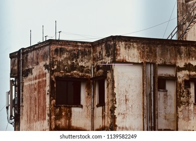 An old architectural building of a city area isolated unique photograph
