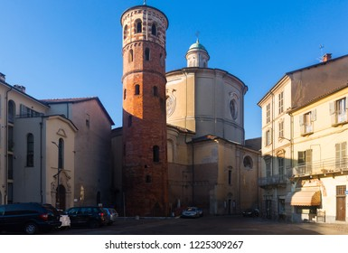 Old architectural sights in italian city Asti outdoors.