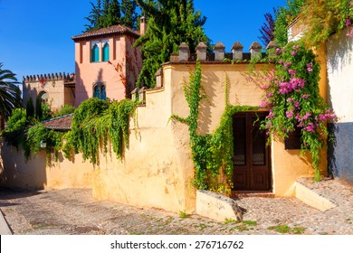 Old architecture of Albaicin neighborhood. Granada, Spain