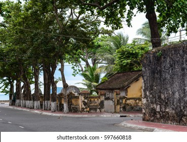 Old architecture of ancient prisons with many trees in Con Dao island, Vietnam.