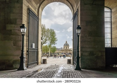 Old architecture in France. Arch in Paris.
