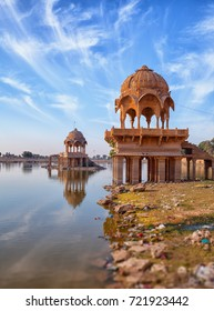Old architecture at Gadisar Lake in Jaisalmer - vertical photo. India, Rajasthan