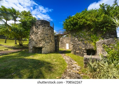 Old architecture at Grande Anse place, Reunion Island during a sunny day