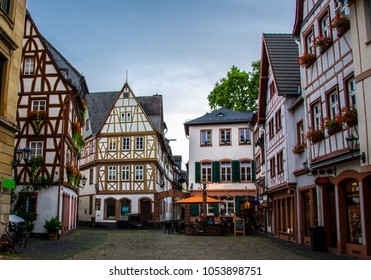 Old architecture houses in the center of Mainz, Germany