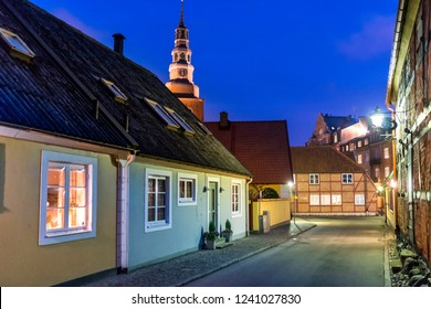 Old architecture at night in the Swedish town of Ystad,  Skane County.