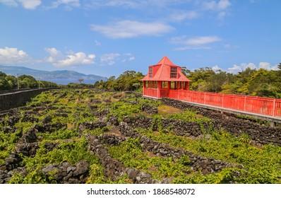 Old Architecture otside the Pico Wine Museum in the Azores Island of Pico, Portugal