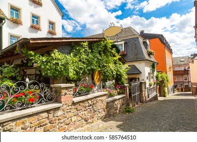 Old architecture of Rudesheim near the river Rhine, Germany