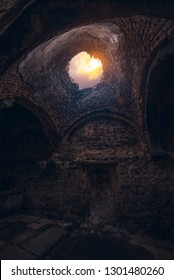 Old Armenian fortress and moonset. Beautiful travel photography.