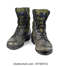 old army boots isolated on white background stock photo