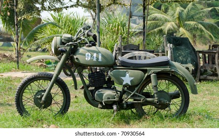 old army motorcycle in Vietnam