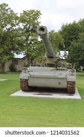 Old Army Tank  With a Bird Nest in the Muzzle in a Small Town in Central Oklahoma
