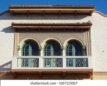 Old Art Deco building window details in Napier city New Zealand