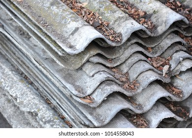 Old Asbestos Cement Roofing On Construction Site