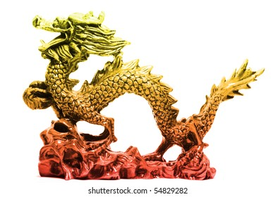 old Asian dragon in object isolated