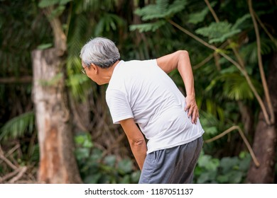 Old asian man suffering from back pain, Health problems medical concept.