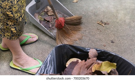 Old Asian woman sweeping fallen leaves in home garden