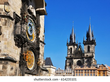 Old astronomical clock Prague astronomical clock in Old Town Square with Church of Our Lady before Tyn, Prague, Bohemia, Czech Republic