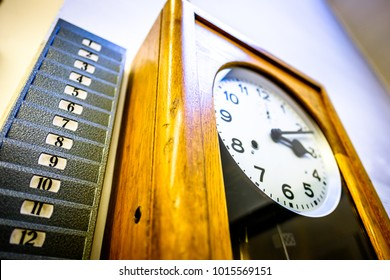 old attendance clock - close up