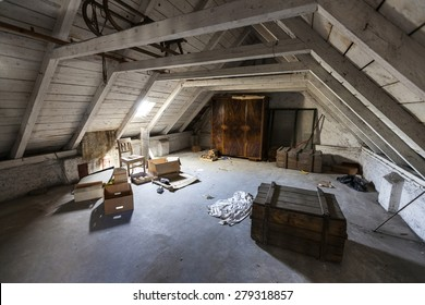 Old attic with hidden secrets of an abandoned house