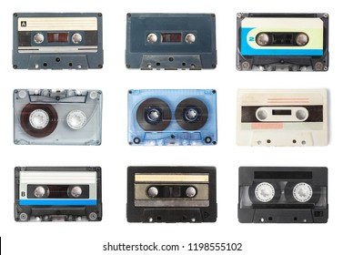 old audio cassette tape on white background