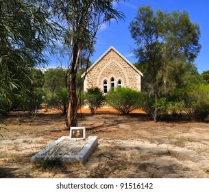 Old Australian Outback Church With Lonely Grave