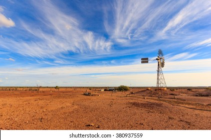 old Australian windmill during drought in outback Queensland, Australia