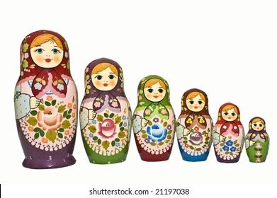 Old, Authentic Russian Babushka Dolls [Isolated]