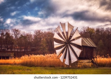 Old authentic traditional wind mill, Astra Museum of Traditional Folk Civilization, Sibiu city, Romania