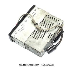 old auto radio isolated on white
