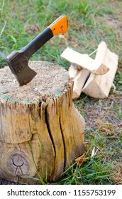 old ax in a stump