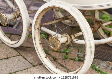 Old Baby Carriage Wheels, Horsham, Mid Sussex, UK