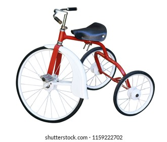 Old baby tricycle bike  isolated on white background. Copy space