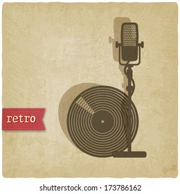 old background with microphone and record - raster version
