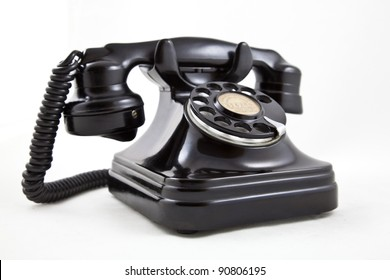 old bakelite telephone manufactured in black