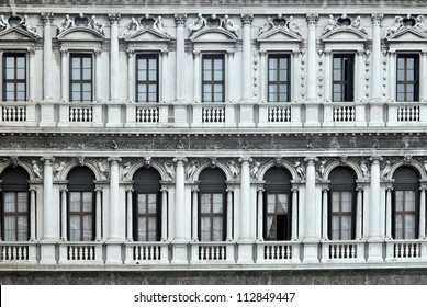 Old balconies in Piazza San Marco. Venice, Italy