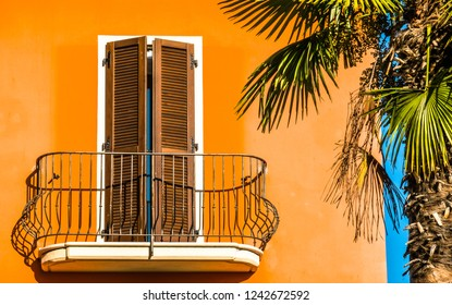 old balcony and palm tree
