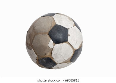 old ball on white background