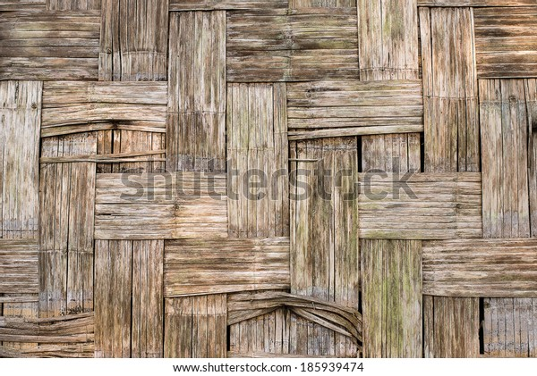 Old Bamboo wood background , Bamboo texture, Thai style bamboo wall ,Thai handwork, abstract natural background