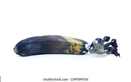old banana isolated white background