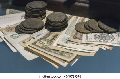 Old Banknotes and Coins.