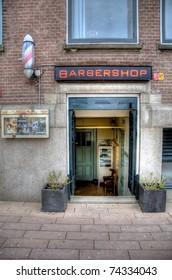 Old Barber shop entrance, Rotterdam The Netherlands.