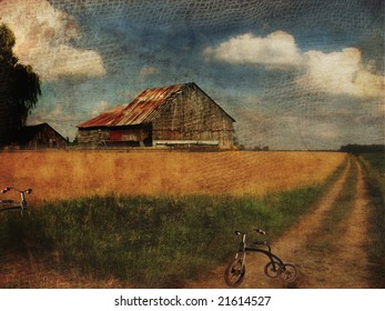 Old barn along country road
