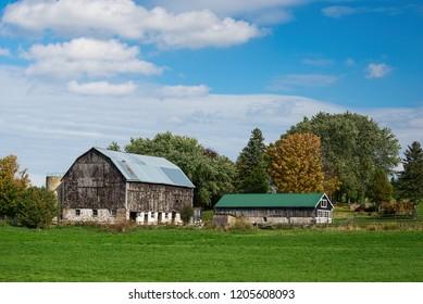 Old barn buildings on a farm in rural Ontario