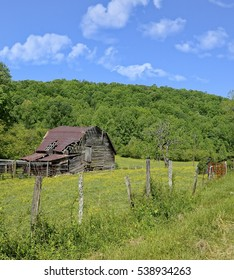 An old barn with corral in a pasture with yellow spring flowers, fence and red gate.